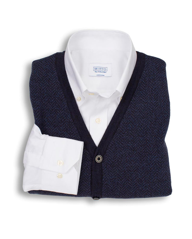 BLUE KNITTED FRONT-BUTTONED VEST