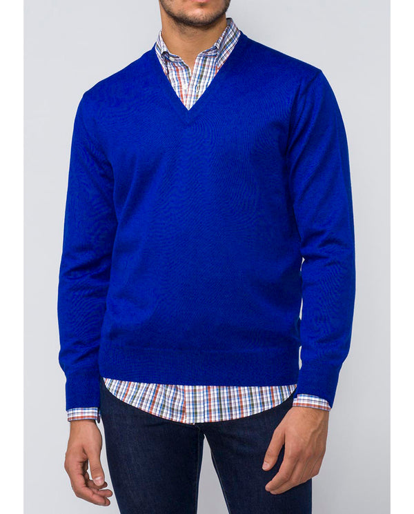 INK BLUE V-NECK MERINO-WOOL SWEATER