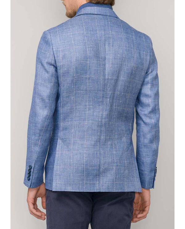 BLUE LINEN-WOOL BLEND UNSTRUCTURED JACKET