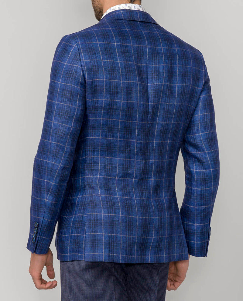 CHECKED LINEN JACKET