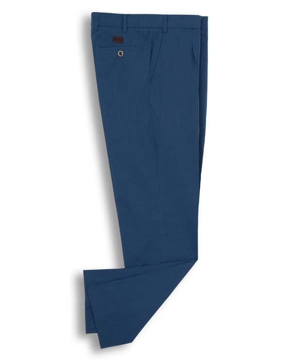 BLUE CASUAL STRETCH-COTTON PANTS by MIRTO