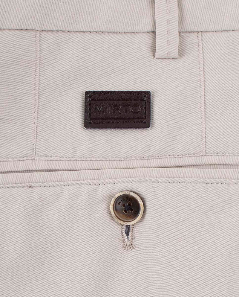 CREAM CASUAL STRETCH-COTTON PANTS by MIRTO