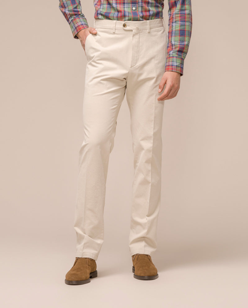 CREAM CASUAL STRETCH-COTTON PANTS