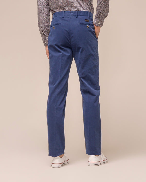 BLUE CASUAL STRETCH-COTTON PANTS