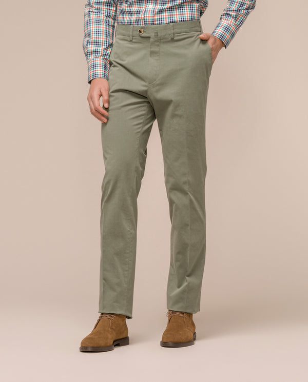 MINT-GREEN CASUAL STRETCH-COTTON PANTS by MIRTO