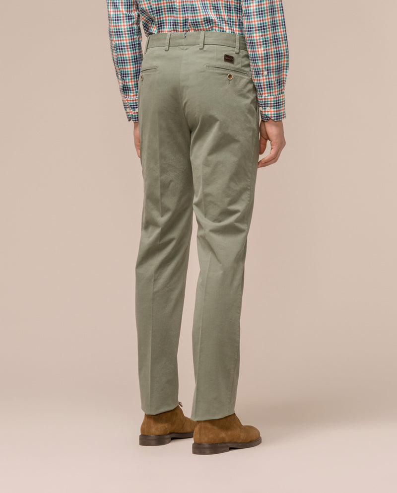 GREEN CASUAL STRETCH-COTTON PANTS
