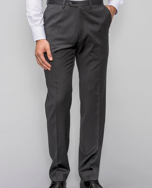 CLASSIC FIT CHARCOAL WOOL TROUSERS