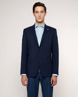 CHECKED WOOL-LINEN BLEND JACKET