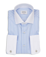 BLUE STRIPED DOUBLE-CUFF DRESS SHIRT by MIRTO