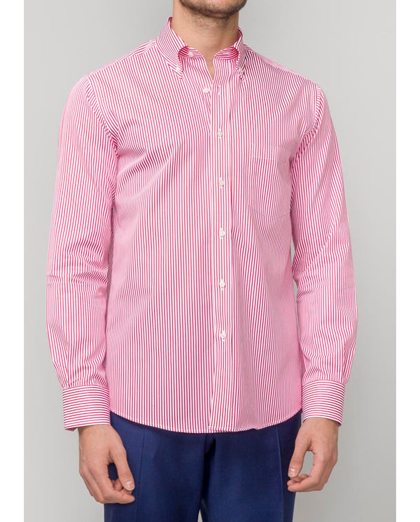 CORAL CASUAL STRIPED COTTON SHIRT