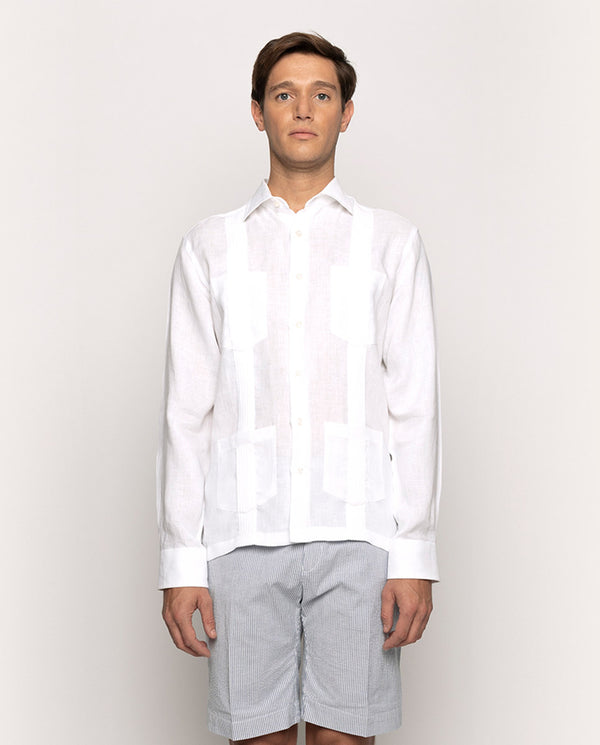 LINEN GUAYABERA SHIRT WITH 4 POCKETS