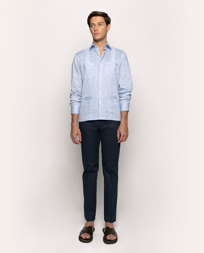 SPREAD COLLAR BLUE LINEN GUAYABERA 4 POCKETS