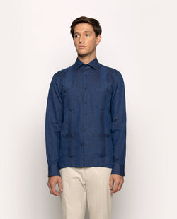 SPREAD COLLAR NAVY LINEN GUAYABERA 4 POCKETS