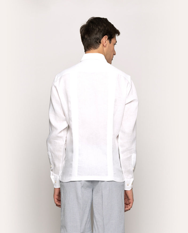 SPREAD COLLAR WHITE LINEN GUAYAMISA 2 POCKETS