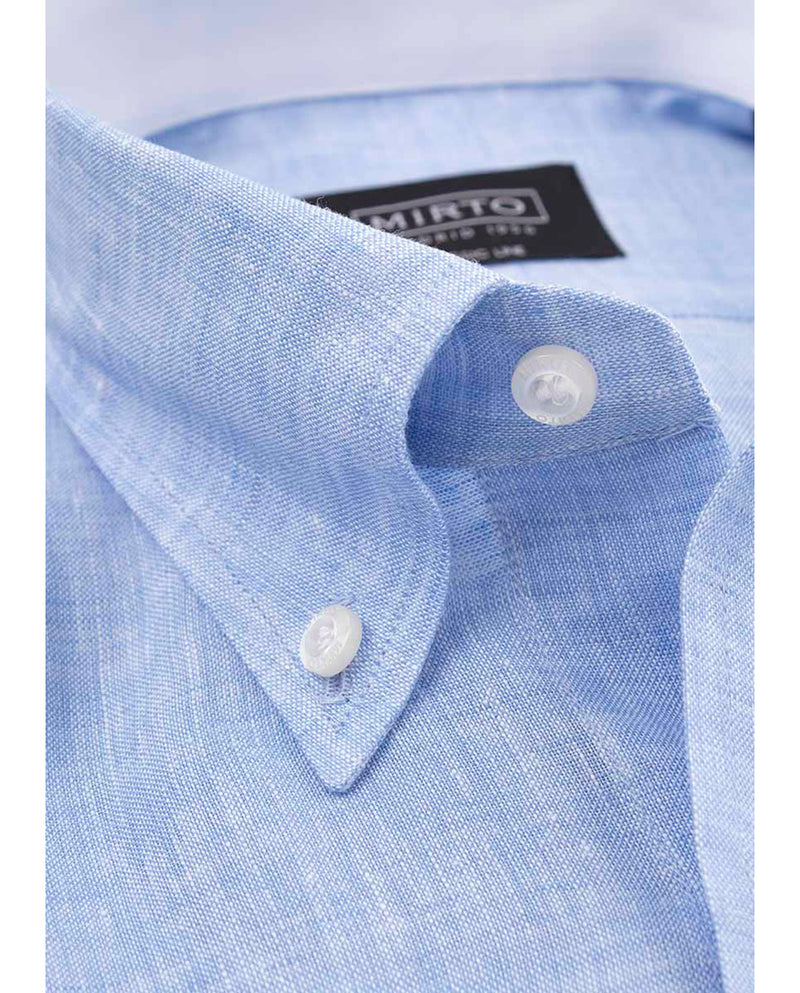 BUTTON-DOWN COLLAR LINEN SHIRT