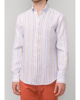 TURQUOISE STRIPED LINEN CASUAL SHIRT