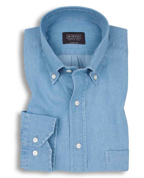 BUTTON DOWN COLLAR CASUAL DENIM SHIRT by MIRTO