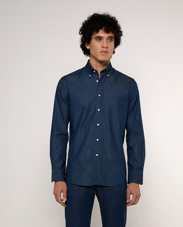 BUTTON DOWN COLLAR DARK DENIM SHIRT