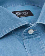 CUT AWAY COLLAR TAILORED-FIT DENIM SHIRT by MIRTO