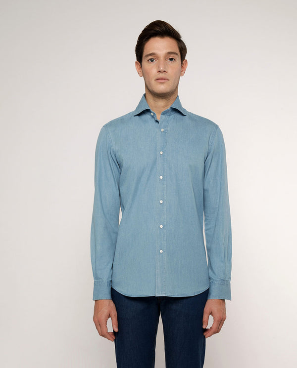 TAILORED-FIT LIGHT DENIM SHIRT