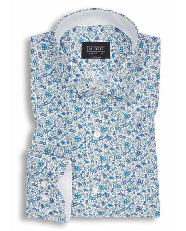 BLUE FLORAL PRINTED COTTON SHIRT