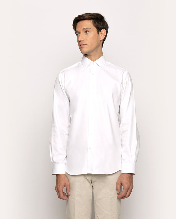 TEXTURED-COTTON DRESS SHIRT