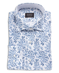 BLUE FLORAL PRINTED COTTON SHIRT by MIRTO
