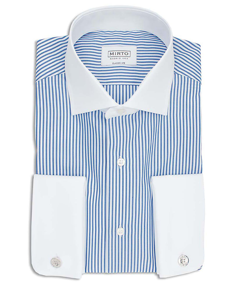 SPREAD WHITE-COLLAR STRIPED DRESS-SHIRT by MIRTO