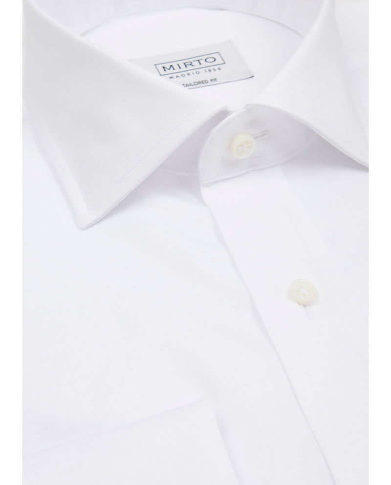 SPREAD COLLAR WHITE TAILORED FIT DRESS SHIRT by MI