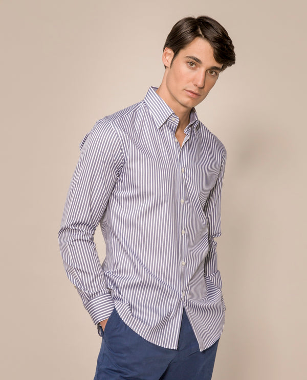 BLUE CASUAL LONG SLEEVE SHIRT