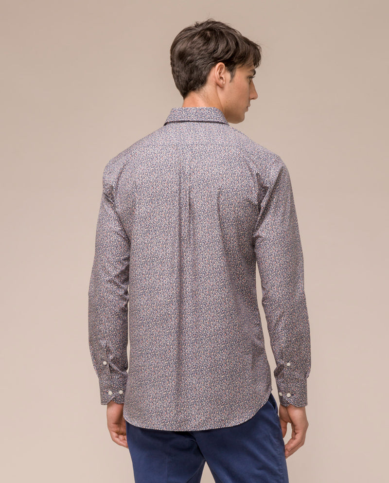 NAVY MICRO-PRINTED COTTON SHIRT by MIRTO