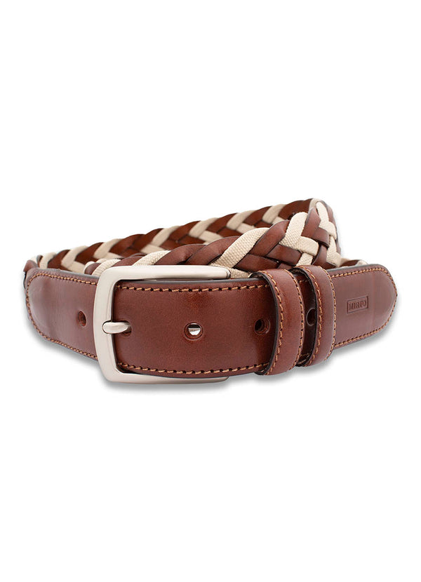 BRAIDED COTTON AND LEATHER CASUAL BELT