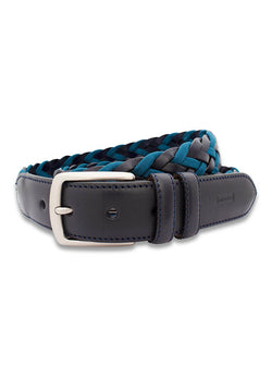 NAVY BRAIDED COTTON AND LEATHER CASUAL BELT