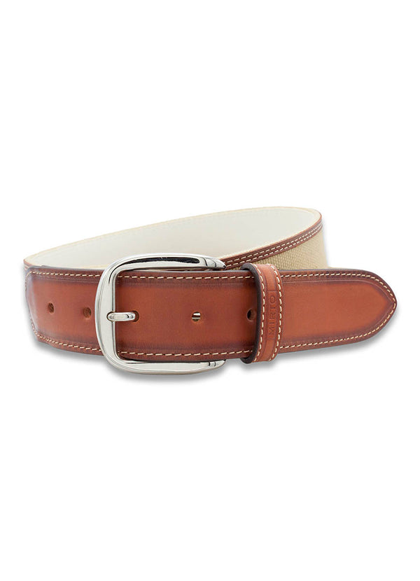 CAMEL-CANVAS ON BROWN-LEATHER CASUAL BELT by MIRTO