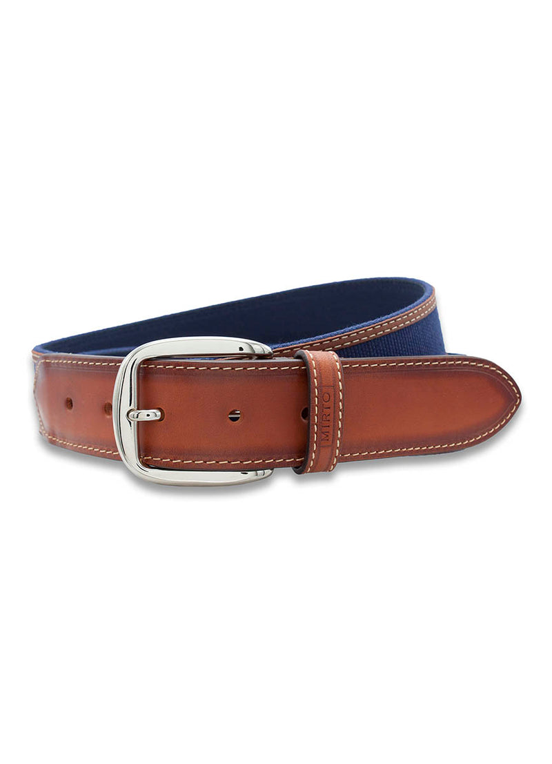 NAVY-CANVAS ON BROWN-LEATHER CASUAL BELT by MIRTO