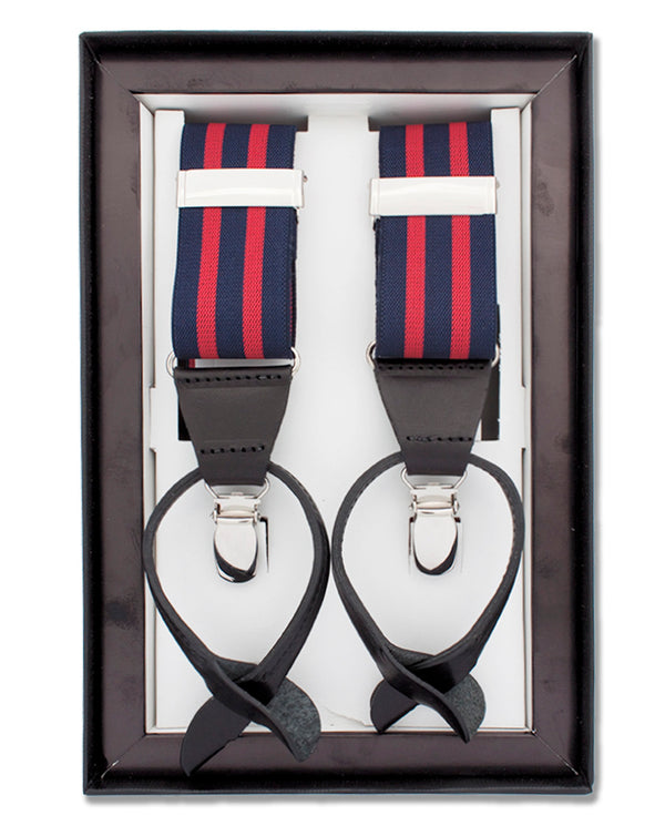 CLIP & BUTTON STRIPED SUSPENDERS