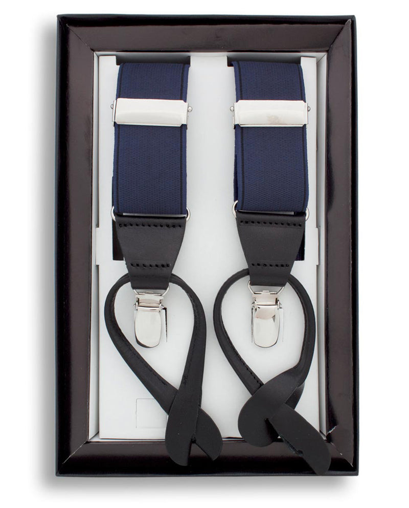 NAVY CLIP & BUTTON SUSPENDERS