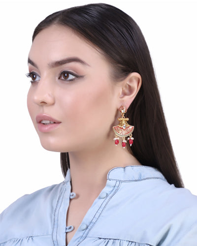 ZARINA MEENAKARI EARRINGS (Red)