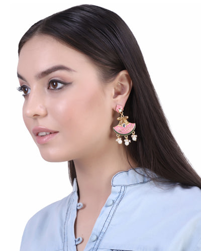 ZARINA MEENAKARI EARRINGS (Pink)