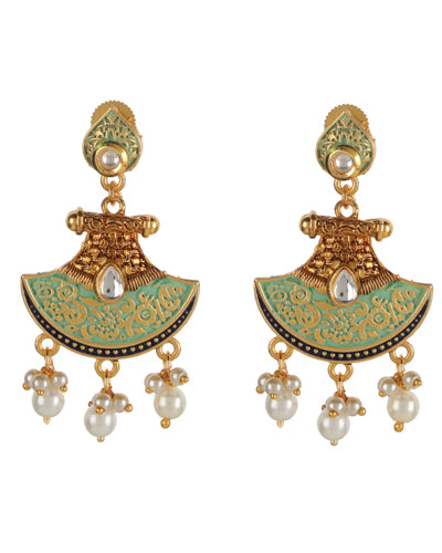 ZARINA MEENAKARI EARRINGS (Green)