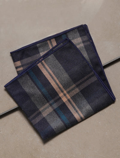 ESQUE' BLUE PLAID POCKET SQUARE