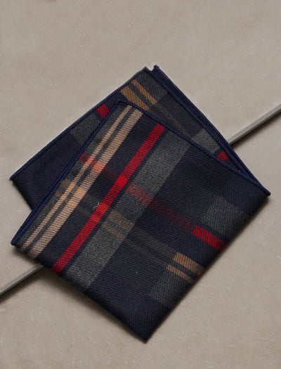 ESQUE' BLUE & RED PLAID POCKET SQUARE