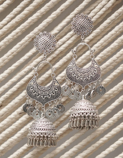 NILOFER OXIDISED EARRINGS