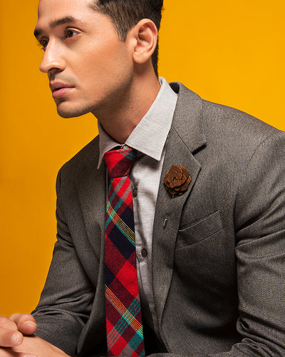 ESQUE' RED & BLUE FLANNEL TIE