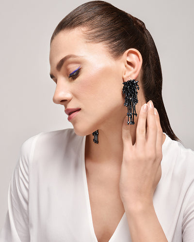 BLUE GALAXY TASSEL EARRINGS