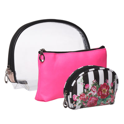 Stripes and floral-multipurpose utility pouch set of 3