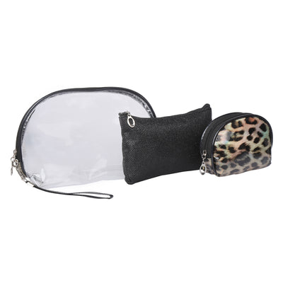 Animal print black - multipurpose utility pouch set of 3