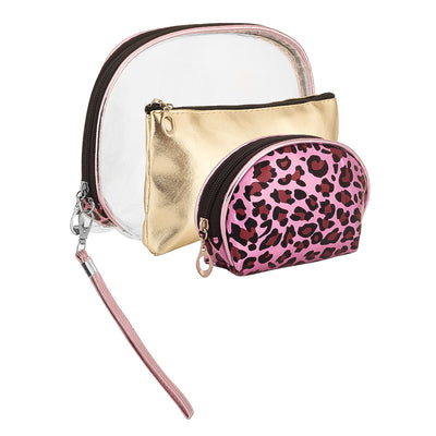 Animal print pink - multipurpose makeup pouch set of 3