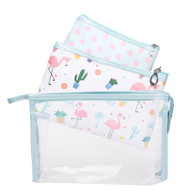 Flamingo- multipurpose utility pouch set of 3