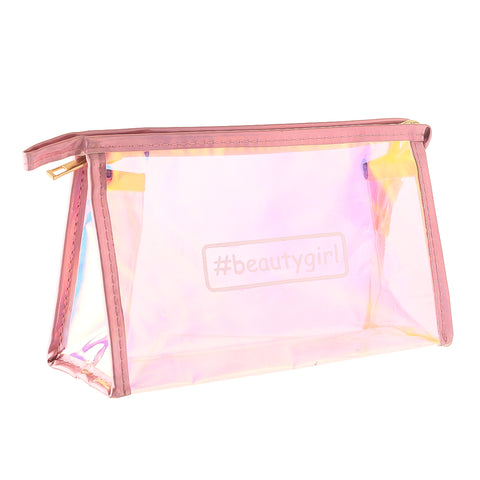 #beautygirl holographic pink-multipurpose makeup pouch